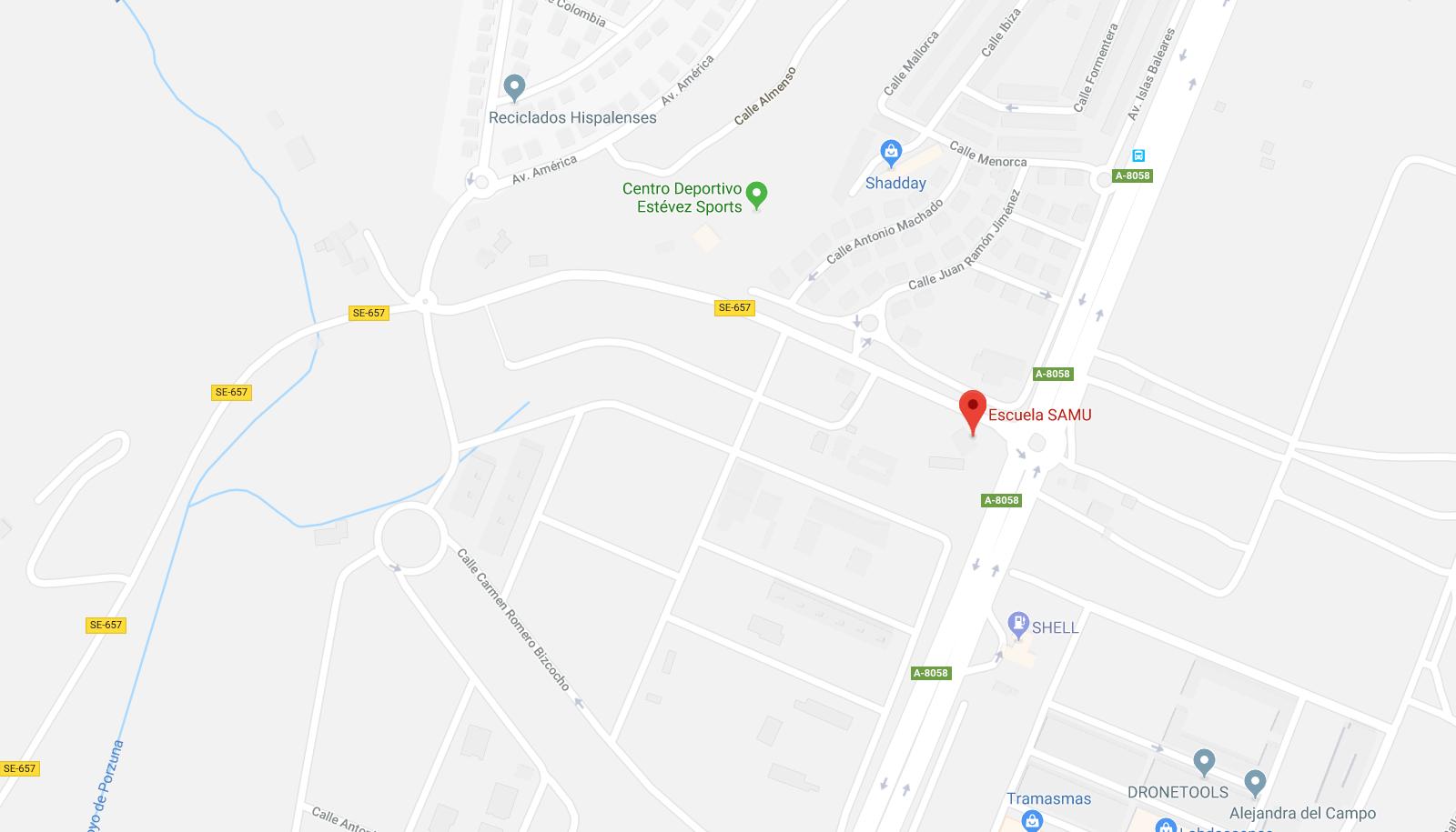 Mapa de localización de la Escuela SAMU